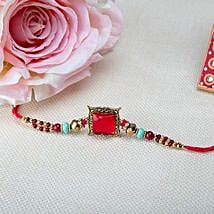Square Pink Rakhi: Send Rakhi to Argentina