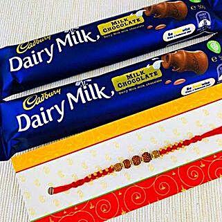 Charm Rakhi With Two Dairy Milk: Send Rakhi to Melbourne