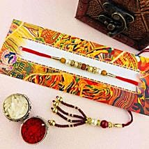 Delightful Lumba Rakhi Set: Send Rakhi for Bhaiya Bhabhi to Australia