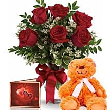 Half Dozen Roses With Teddy: Flower Bouquets to Australia