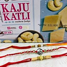 Ik Onkar Rakhi Set With Kaju Katli: Rakhi with Sweets to Australia