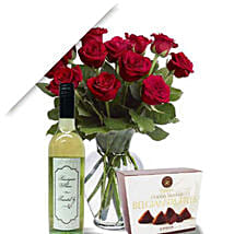 Roses With Wine N Truffle: Thanksgiving Gift Delivery in Australia