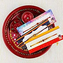 Three Rakhi With Traditional Thali: Set of 3 Rakhis to Australia