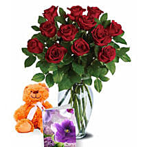 Valentine Roses N Teddy Combo: Rose Delivery in Australia