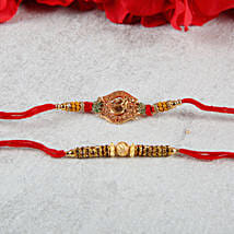 Elegant Designer Aum Golden Rakhi Set: Send Rakhi to Bulgaria