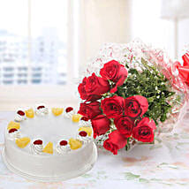 10 Red Roses And Pineapple Cake Combo: Valentine's Day Flower Delivery in Canada