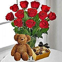 12 Red Roses Chocolates and Bear: Valentine's Day Roses Canada