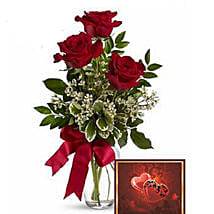 3 Red Roses With Greeting Card: Valentine's Day Rose Delivery in Canada