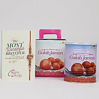 Designer Rakhi With Yummy Gulab Jamun: Set of 2 Rakhi Delivery in Canada