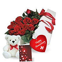 Rose Gift Box N Teddy: Anniversary Flower Delivery in Canada
