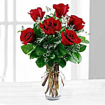 Six Red Roses In A Vase: Same Day Gift Delivery in Canada