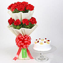Two Layer Carnations Bouquet With Pineapple Cake: Valentines Day Cake Delivery in Canada