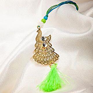 Attractive Metallic Peacock Lumba Rakhi: Send Rakhi to China