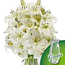 10 white lilies in a bunch: Send Birthday Gifts to Germany