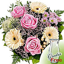 Flower Bouquet Ballade with vase: Send Birthday Flowers to Germany
