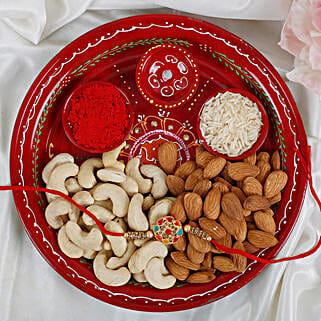 Premium Navrang Rakhi with Puja thali Dry fruits Rakhi Hamper: Rakhi Pooja Thali Germany