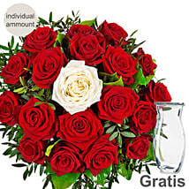 Red Rose Bunch With Single White Rose: Send Flowers to Germany