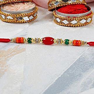 Red Oval Bead Dori Rakhi: Send Rakhi to Jordan