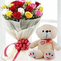 Mix Flowers And Teddy Combo: Valentine's Day Gifts to Kuwait