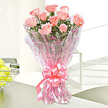 10 Charming Pink Roses Bouquet: Birthday Gifts for Mother