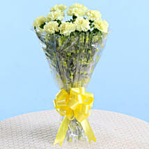 10 Lively Yellow Carnations Bouquet: Send Carnations