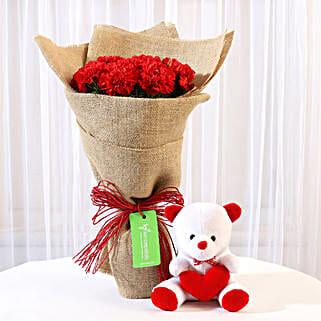 10 Red Carnations Bouquet & Teddy Bear Combo: Flowers & Teddy Bears