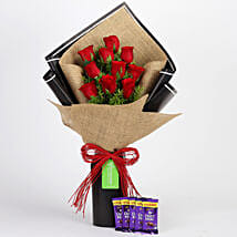 10 Red Roses & Cadbury Dairy Milk Combo: Flowers with Chocolates