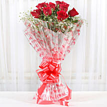 10 Red Roses Exotic Bouquet: Send Flowers to Amravati