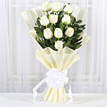 Pristine White Roses Bunch: Flower bouquets for anniversary