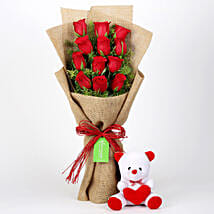 12 Layered Red Roses Bouquet & Teddy Bear: Flower N Teddy