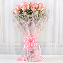 12 Splendid Pink Roses Bouquet: I am Sorry Flowers