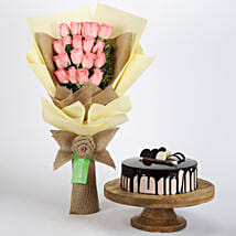 20 Pink Roses Bouquet & Choco Cream Cake: Valentines Day Flowers & Cakes