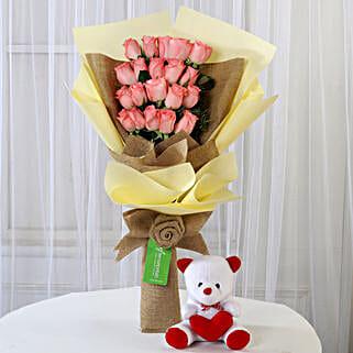 20 Pink Roses Bouquet & Teddy Bear Combo: Flowers & Teddy Bears for Birthday