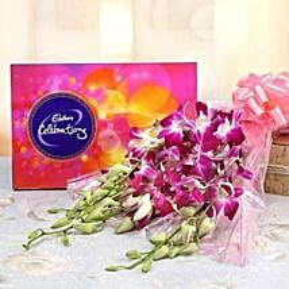 6 Purple Orchids With Cadbury Celebrations: