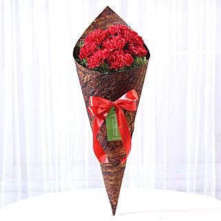 8 Red Carnations in Brown Handmade Paper: Send Carnations