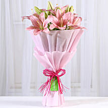 Admirable Pink Asiatic Lilies Bunch: Exotic Flowers