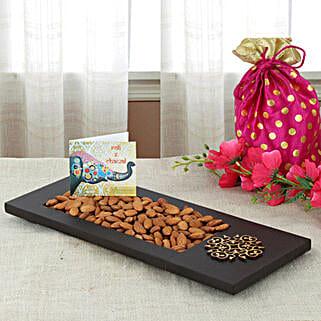 Almonds In Wooden Tray: Send Bhai Dooj Gifts to Srinagar