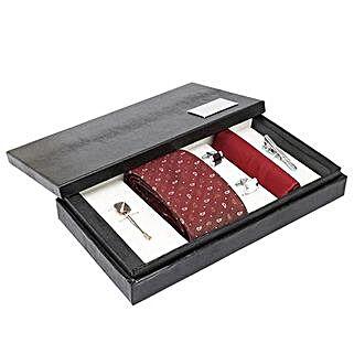 Alvaro Castagnino Maroon N Brown Necktie Pocket Square Lapel Pin & Cufflinks Set for Men: Accessories