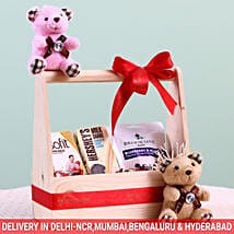 Assorted Wooden Gift Basket: Send New Born Gift Baskets