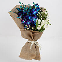Beautiful Orchid Tulips Jute Wrapped Bouquet: Exotic Flowers
