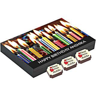 Birthday Gift Box- 12 Personalised Chocolates: Personalised Chocolates for Wife