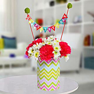Special Birthday Vase Arrangement: Mixed Flowers