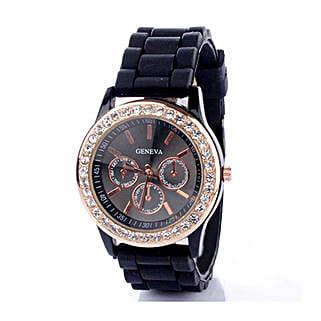 Black Diamante Watch For Women: Women's Watches