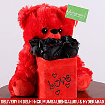 Black Roses & Teddy Bear Combo: Soft Toys Gifts