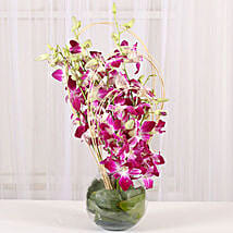 Blue Orchids Vase Arrangement: Send Flowers to Bangalore