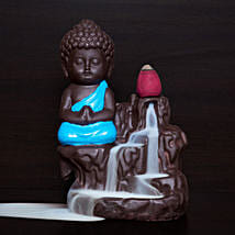Blue Polyresin Monk Buddha Incense Burner: Home Decor Gifts Ideas