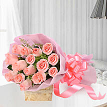 Blushing Love- 15 Pink Roses Bouquet: Flowers for Rose Day