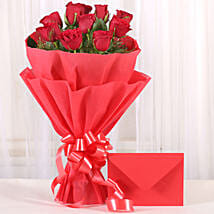 Bouquet N Greeting Card: Roses to Ahmedabad