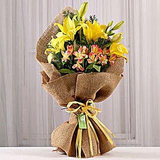 Bright Bouquet of Lilies & Alstroemeria: Lilies