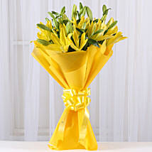 Bright Yellow Asiatic Lilies: Birthday Flowers Noida